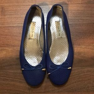 Genuine Leather Contesa Blue Flats From Italy